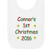 1st Christmas Text Any Name Baby Bib