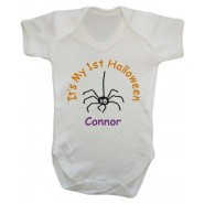 It's My 1st Halloween Spider Any Name Baby Vest