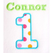 Applique Number (1 to 9) + Name Design