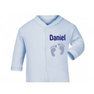 Newborn Baby Boy Footprints Any Name Baby Sleepsuit