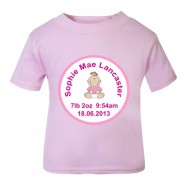 Baby Girl Birth Details Childrens Printed T-Shirt