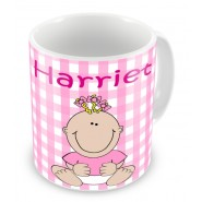 Personalised Newborn Baby Girl Birth Details Mug