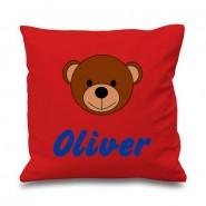 Teddy Bear Face Any Name Printed Cushion