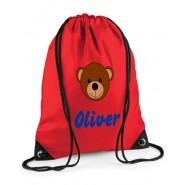 Teddy Bear Face Any Name Drawstring Bag