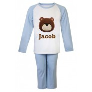 Teddy Bear Face Any Name Embroidered Pyjamas