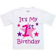 Any Name & Age Girls Birthday T-Shirt (Front & Back)