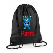 Blue Monster Any Name Drawstring Bag