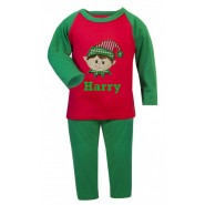 Christmas Boy Elf Any Name Embroidered Pyjamas