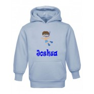 Swimming Boy Any Name Childrens Hoodie