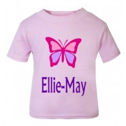 Butterfly Any Name Childrens Printed T-Shirt