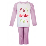Christmas Candy Canes Any Name Childrens Pyjamas