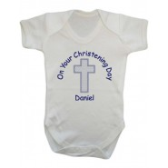 On Your Christening Day Boy Baby Vest