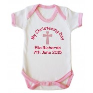 My Christening Day Name + Date Girl Baby Vest