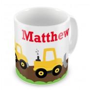 Construction Vehicles + Name Mug