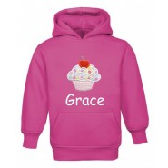 Cupcake Any Name Childrens Embroidered Hoodie