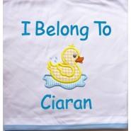 Duck Applique Design + Text Baby Cotton / Fleece Blanket
