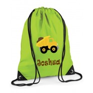 Dump Truck Any Name Drawstring Bag