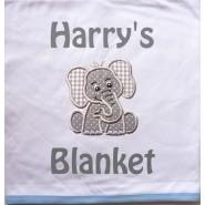 Elephant Applique Design + Text Baby Cotton / Fleece Blanket