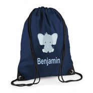 Elephant Any Name Drawstring Bag