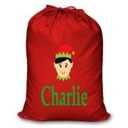 Boy Elf Any Name Printed Christmas Sack