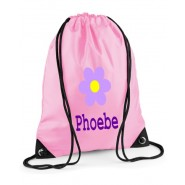 Flower Any Name Drawstring Bag