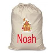 Gingerbread House Any Name Printed Christmas Sack