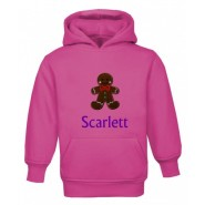 Christmas Gingerbread Man Any Name Childrens Embroidered Hoodie