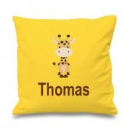 Giraffe Any Name Printed Cushion