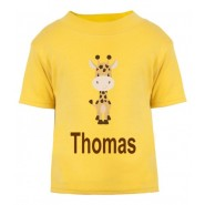 Giraffe Any Name Childrens Printed T-Shirt