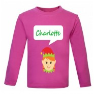 Christmas Girl Elf Any Name Childrens Printed T-Shirt