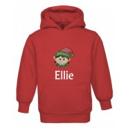 Christmas Girl Elf Any Name Childrens Embroidered Hoodie