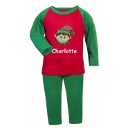 Christmas Girl Elf Any Name Embroidered Pyjamas