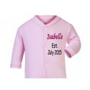 Any Name Est. Any Date Girl Baby Sleepsuit