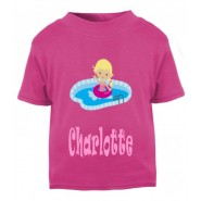 Swimming Girl Any Name Childrens Printed T-Shirt