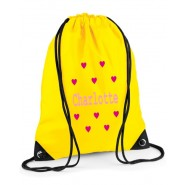 Hearts Any Name Drawstring Bag