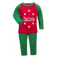 Hearts Any Name Childrens Glow in Dark Pyjamas