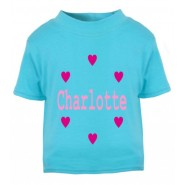 Hearts Any Name Childrens Printed T-Shirt