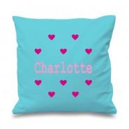 Hearts Any Name Printed Cushion