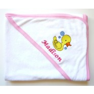 Name + Embroidered Design Baby Hooded Bath Towel