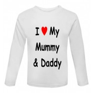 I Heart My Mummy & Daddy Childrens Printed T-Shirt