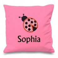 Ladybird Any Name Embroidered Cushion