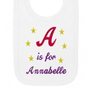 Any Letter is for Any Name Girl Baby Bib