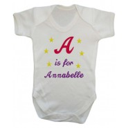 Any Letter is for Any Name Girl Baby Vest