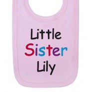 Little Sister Any Name Baby Bib