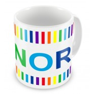 Rainbow Colours Stripes + Name Mug