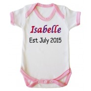 Any Name Est. Any Date Girl Baby Vest