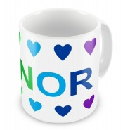 Rainbow Colours Hearts + Name Mug