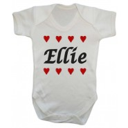Any Name Hearts Baby Vest