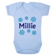 Any Name Snowflakes Baby Vest