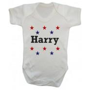 Any Name Stars Baby Vest
